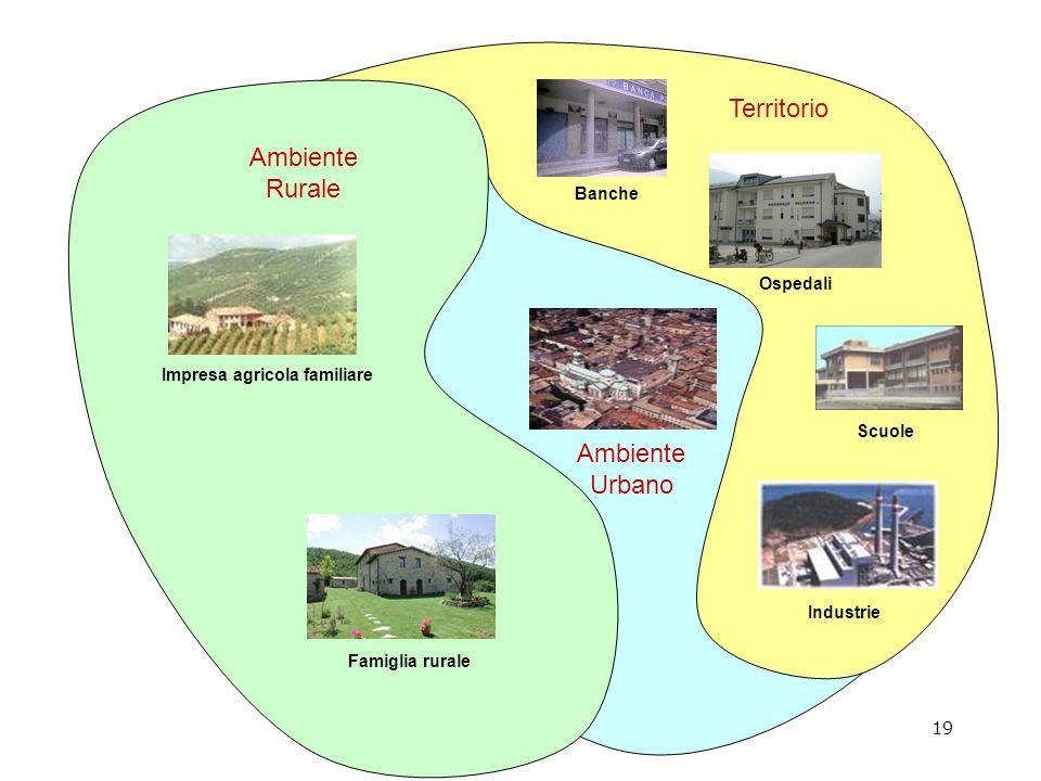 19 Impresa agricola familiare Famiglia rurale Ambiente Rurale Ambiente Urbano Industrie Scuole Ospedali Banche Territorio