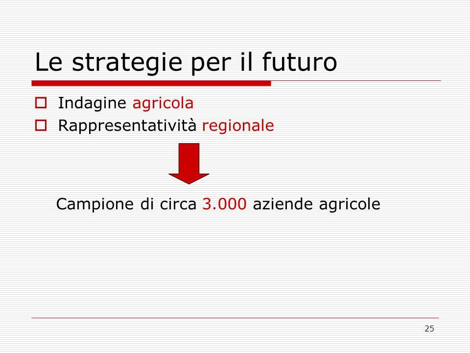 25 Le strategie per il futuro Indagine agricola Rappresentatività regionale Campione di circa 3.000 aziende agricole