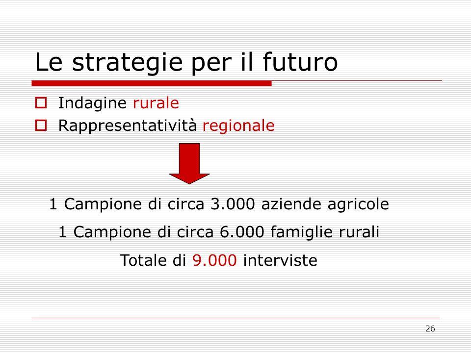 26 Le strategie per il futuro Indagine rurale Rappresentatività regionale 1 Campione di circa 3.000 aziende agricole 1 Campione di circa 6.000 famiglie rurali Totale di 9.000 interviste