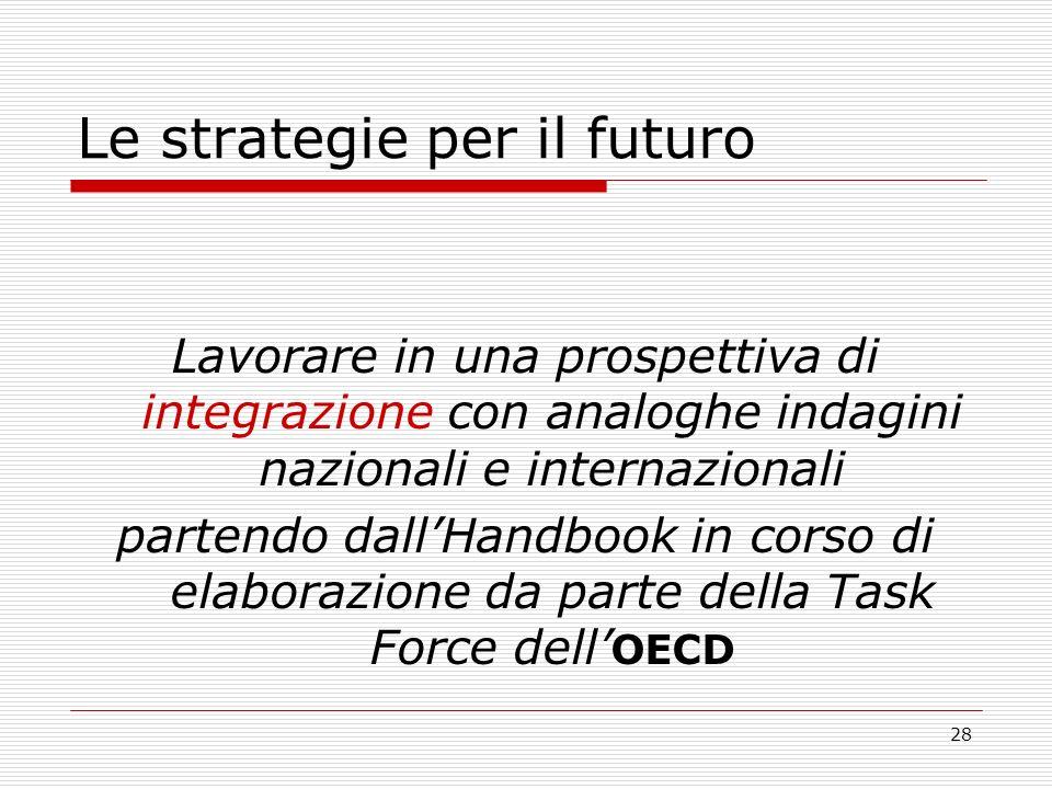 28 Le strategie per il futuro Lavorare in una prospettiva di integrazione con analoghe indagini nazionali e internazionali partendo dallHandbook in corso di elaborazione da parte della Task Force dell OECD