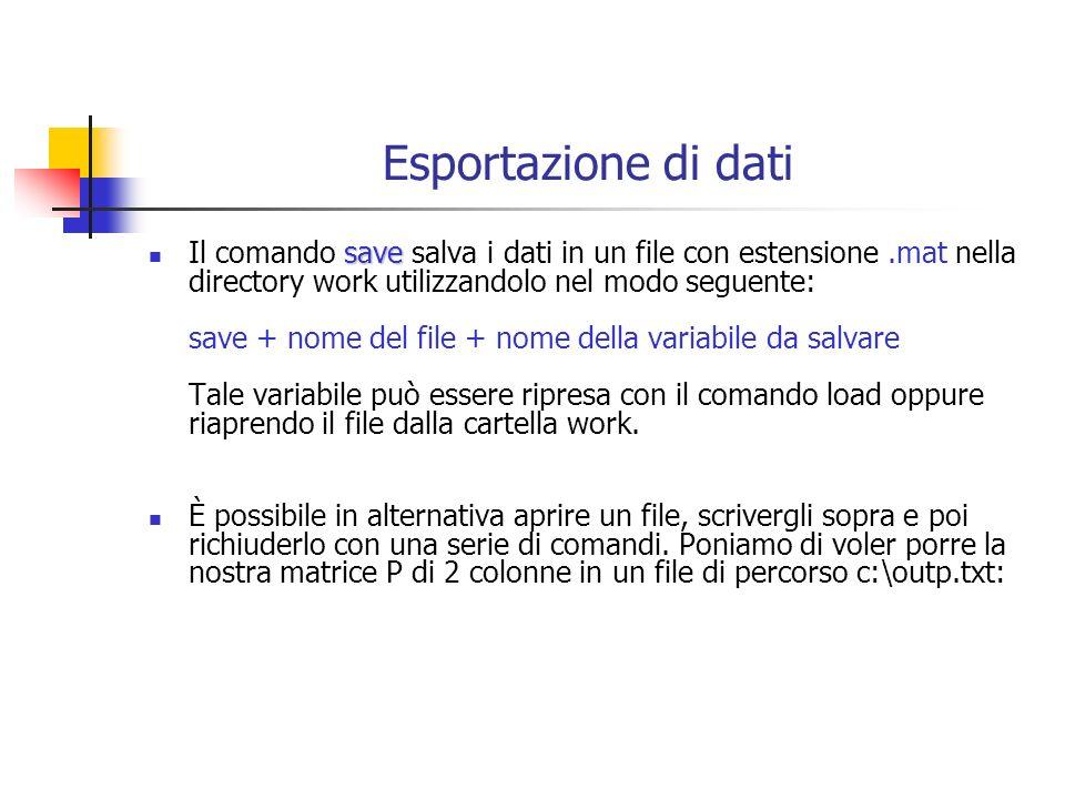 Esportazione di dati save Il comando save salva i dati in un file con estensione.mat nella directory work utilizzandolo nel modo seguente: save + nome del file + nome della variabile da salvare Tale variabile può essere ripresa con il comando load oppure riaprendo il file dalla cartella work.