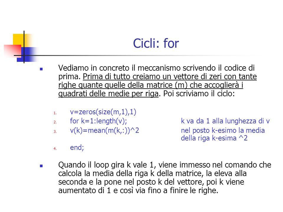 Cicli: while Il ciclo con il while usa la seguente sintassi: p = start while p <= stop; …….