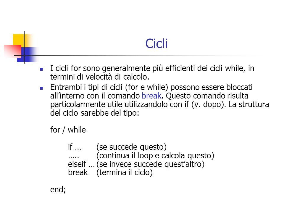 Cicli I cicli for sono generalmente più efficienti dei cicli while, in termini di velocità di calcolo.