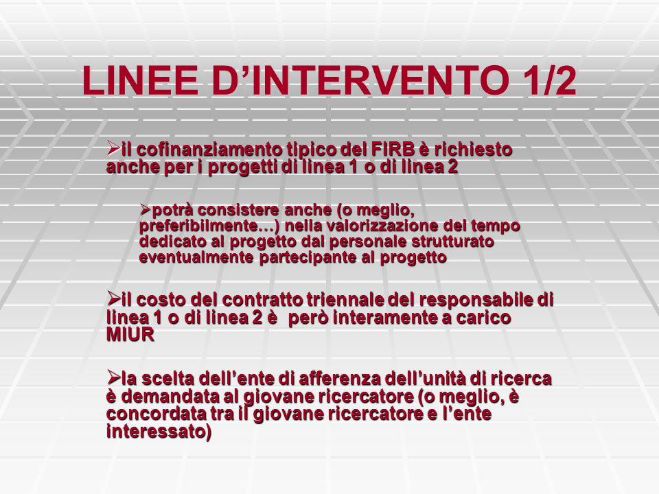 LINEE DINTERVENTO 1/2 il cofinanziamento tipico del FIRB è richiesto anche per i progetti di linea 1 o di linea 2 il cofinanziamento tipico del FIRB è