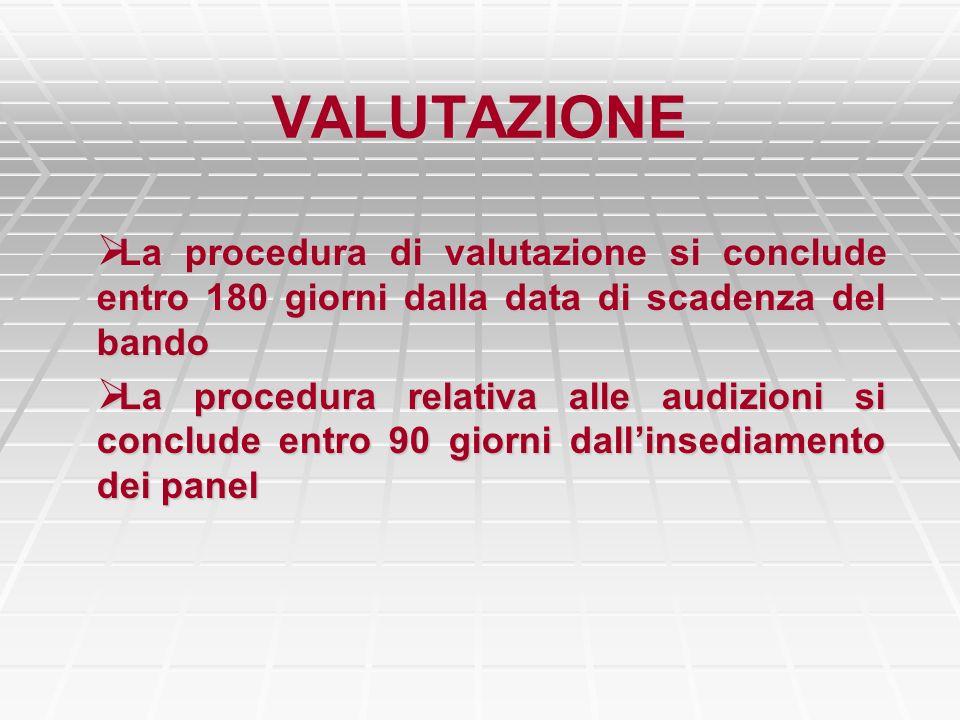 VALUTAZIONE La procedura di valutazione si conclude entro 180 giorni dalla data di scadenza del bando La procedura di valutazione si conclude entro 18