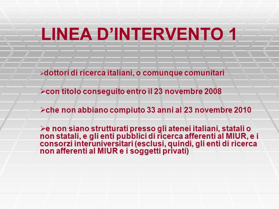 LINEA DINTERVENTO 1 dottori di ricerca italiani, o comunque comunitari dottori di ricerca italiani, o comunque comunitari con titolo conseguito entro