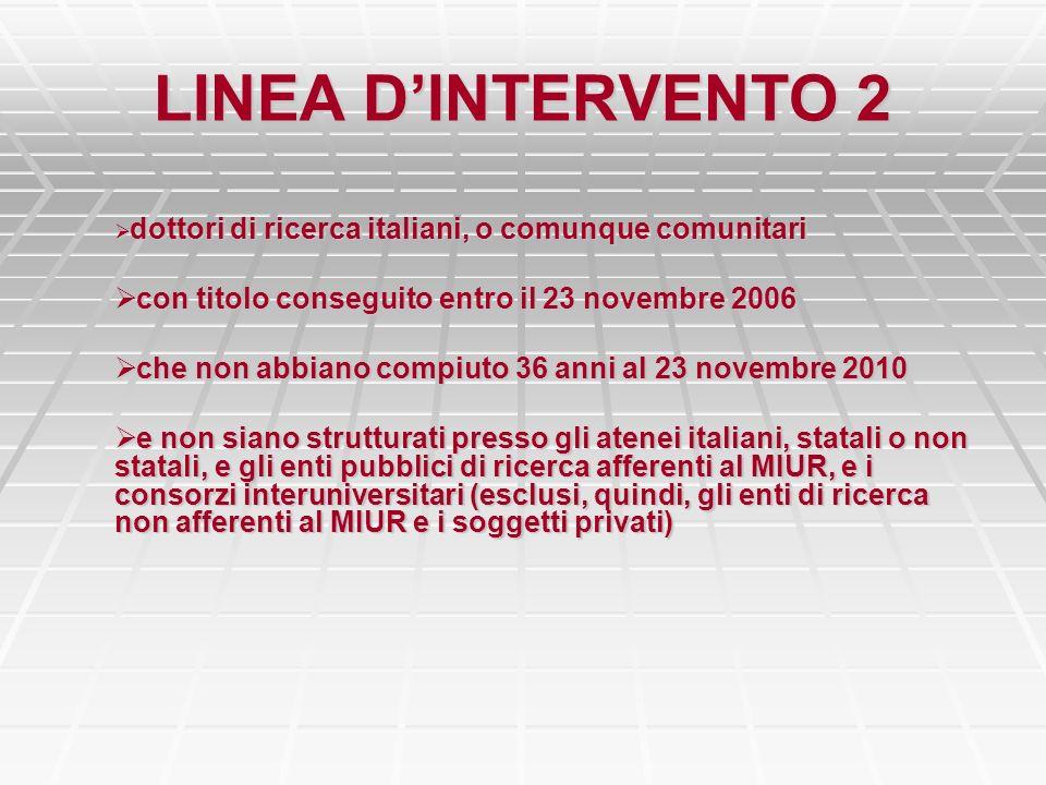 LINEA DINTERVENTO 2 dottori di ricerca italiani, o comunque comunitari dottori di ricerca italiani, o comunque comunitari con titolo conseguito entro