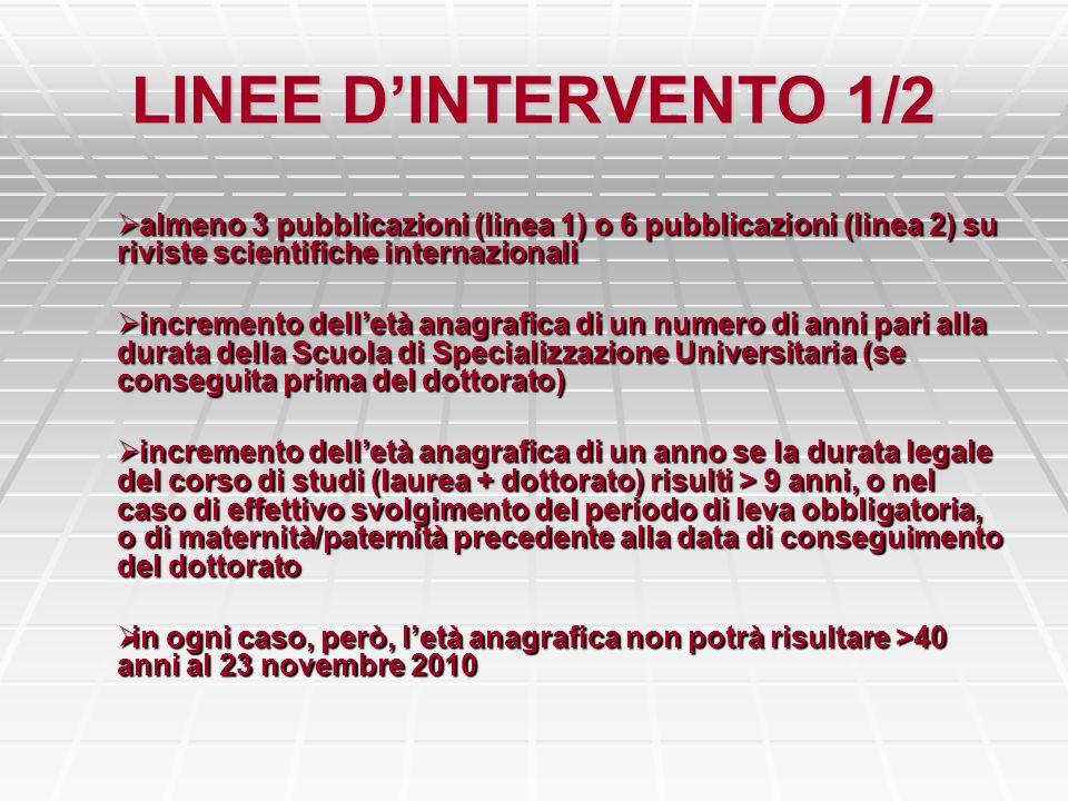 LINEE DINTERVENTO 1/2 almeno 3 pubblicazioni (linea 1) o 6 pubblicazioni (linea 2) su riviste scientifiche internazionali almeno 3 pubblicazioni (line