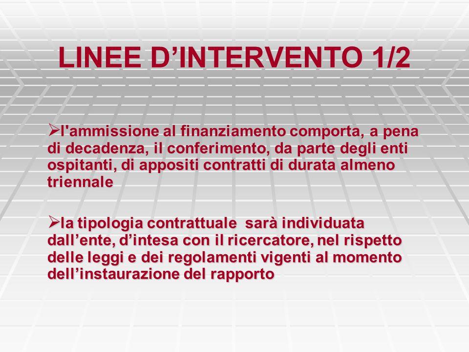 LINEE DINTERVENTO 1/2 l'ammissione al finanziamento comporta, a pena di decadenza, il conferimento, da parte degli enti ospitanti, di appositi contrat