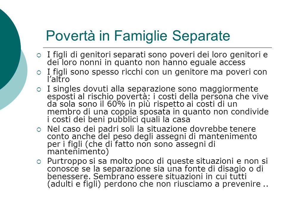Povertà in Famiglie Separate I figli di genitori separati sono poveri dei loro genitori e dei loro nonni in quanto non hanno eguale access I figli son