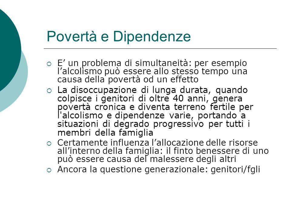Povertà e Dipendenze E un problema di simultaneità: per esempio lalcolismo può essere allo stesso tempo una causa della povertà od un effetto La disoc