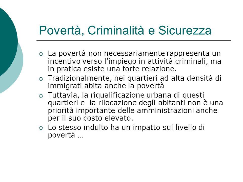 Povertà, Criminalità e Sicurezza La povertà non necessariamente rappresenta un incentivo verso limpiego in attività criminali, ma in pratica esiste un
