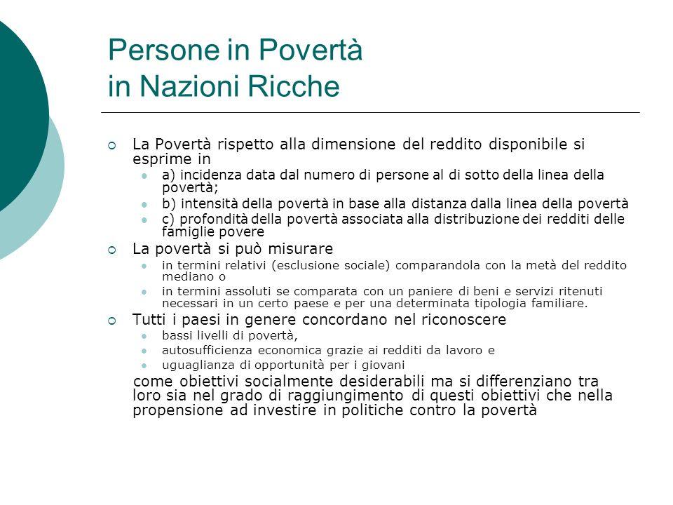 Persone in Povertà in Nazioni Ricche La Povertà rispetto alla dimensione del reddito disponibile si esprime in a) incidenza data dal numero di persone