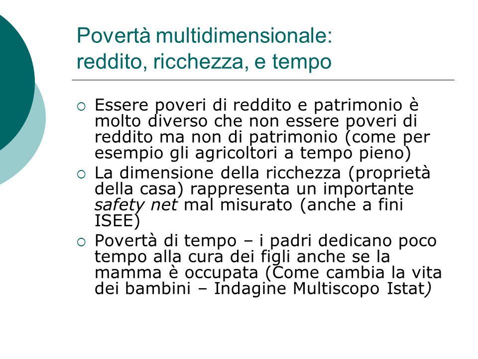 Povertà multidimensionale: reddito, ricchezza, e tempo Essere poveri di reddito e patrimonio è molto diverso che non essere poveri di reddito ma non d