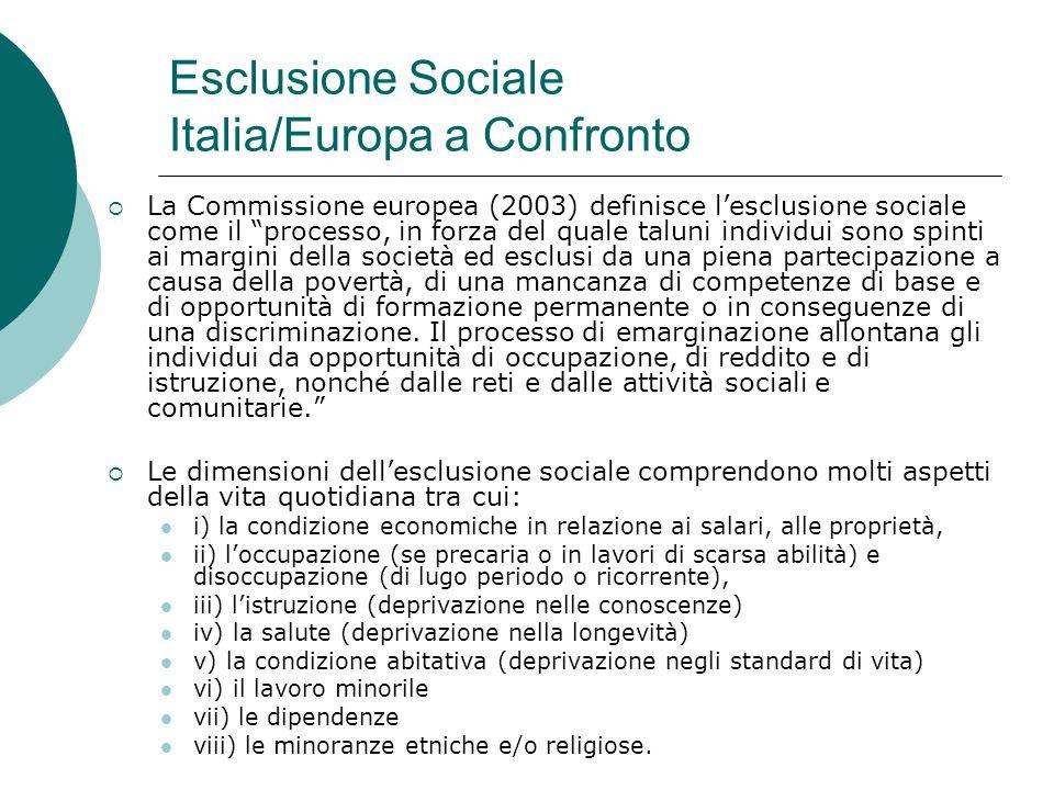 Esclusione Sociale Italia/Europa a Confronto La Commissione europea (2003) definisce lesclusione sociale come il processo, in forza del quale taluni i