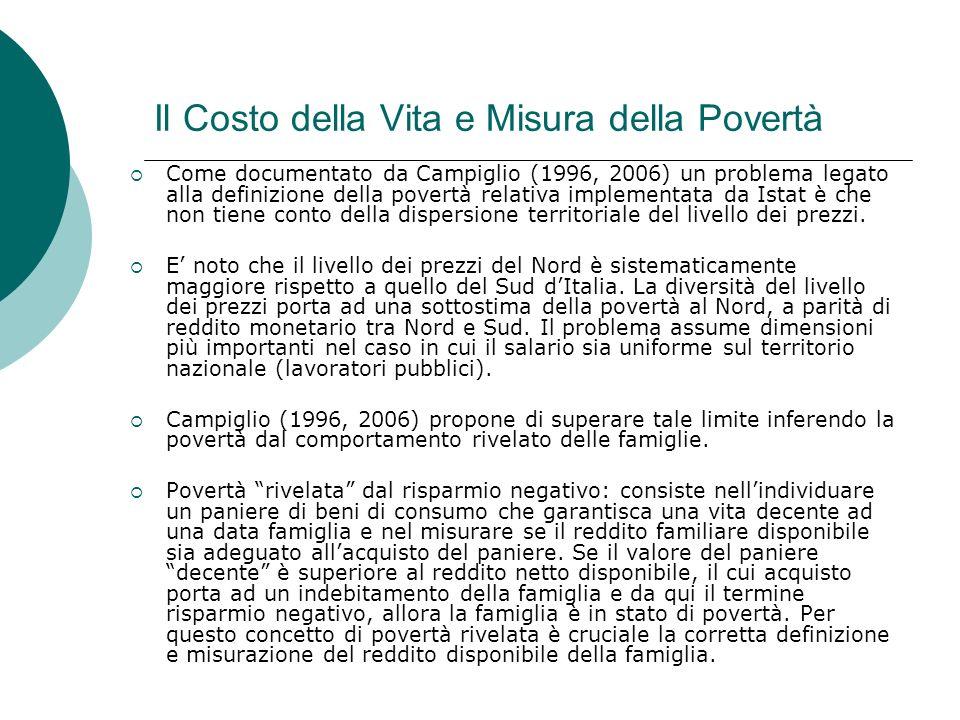 Il Costo della Vita e Misura della Povertà Come documentato da Campiglio (1996, 2006) un problema legato alla definizione della povertà relativa imple