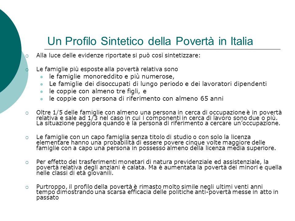 Un Profilo Sintetico della Povertà in Italia Alla luce delle evidenze riportate si può così sintetizzare: Le famiglie più esposte alla povertà relativ