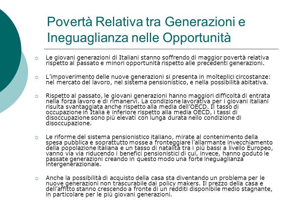 Povertà Relativa tra Generazioni e Ineguaglianza nelle Opportunità Le giovani generazioni di Italiani stanno soffrendo di maggior povertà relativa ris