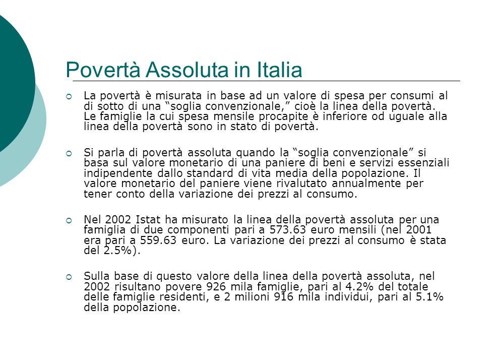 Povertà Assoluta in Italia La povertà è misurata in base ad un valore di spesa per consumi al di sotto di una soglia convenzionale, cioè la linea dell
