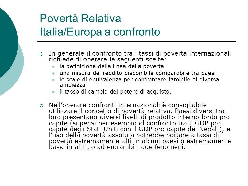 Povertà Relativa Italia/Europa a confronto In generale il confronto tra i tassi di povertà internazionali richiede di operare le seguenti scelte: la d