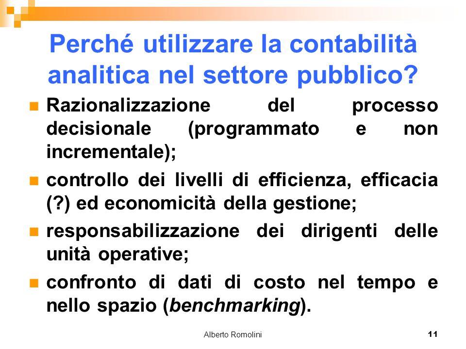 Alberto Romolini11 Perché utilizzare la contabilità analitica nel settore pubblico? Razionalizzazione del processo decisionale (programmato e non incr