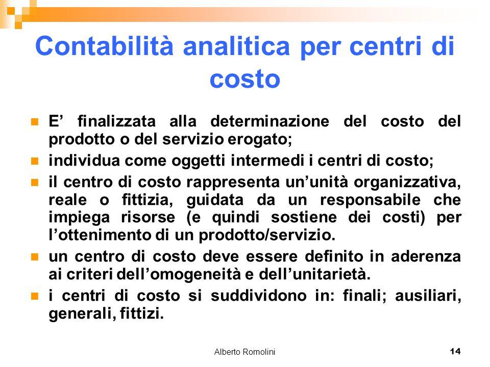 Alberto Romolini14 Contabilità analitica per centri di costo E finalizzata alla determinazione del costo del prodotto o del servizio erogato; individu