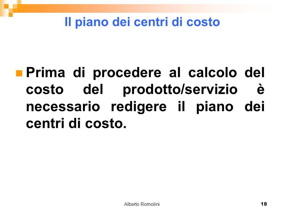 Alberto Romolini18 Il piano dei centri di costo Prima di procedere al calcolo del costo del prodotto/servizio è necessario redigere il piano dei centri di costo.