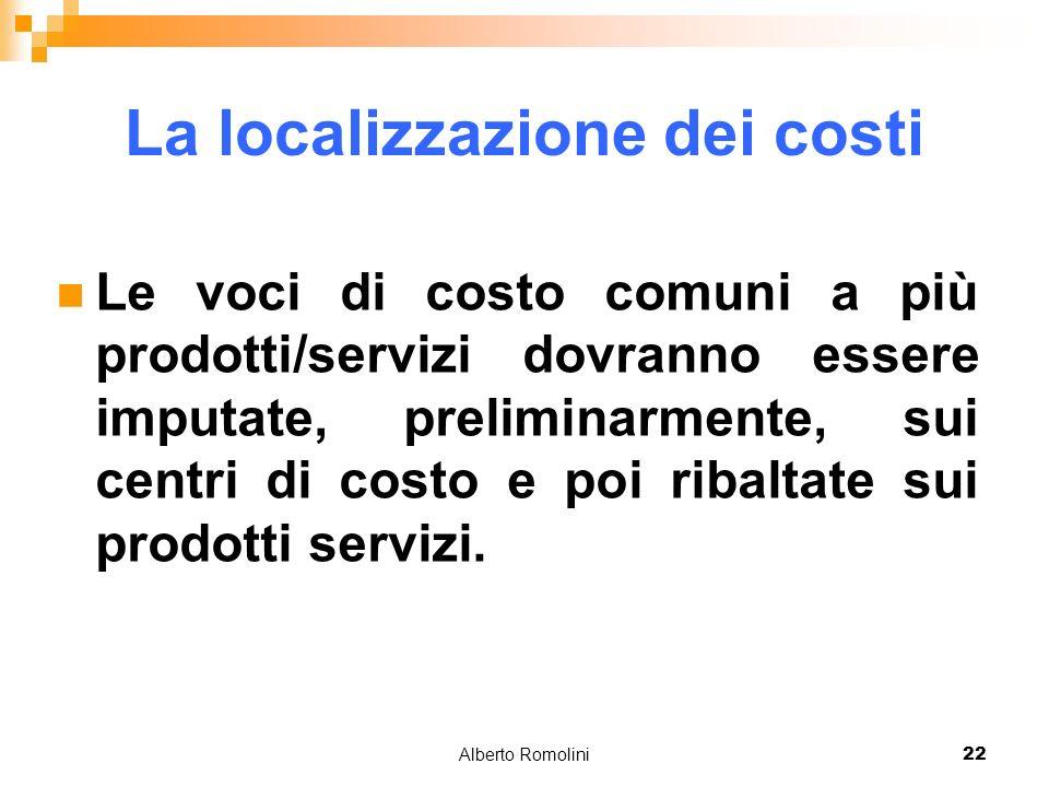 Alberto Romolini22 La localizzazione dei costi Le voci di costo comuni a più prodotti/servizi dovranno essere imputate, preliminarmente, sui centri di costo e poi ribaltate sui prodotti servizi.