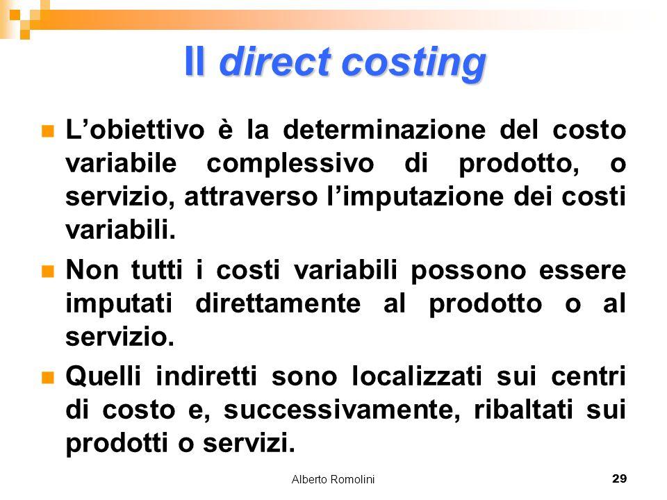 Alberto Romolini29 Il direct costing Lobiettivo è la determinazione del costo variabile complessivo di prodotto, o servizio, attraverso limputazione d