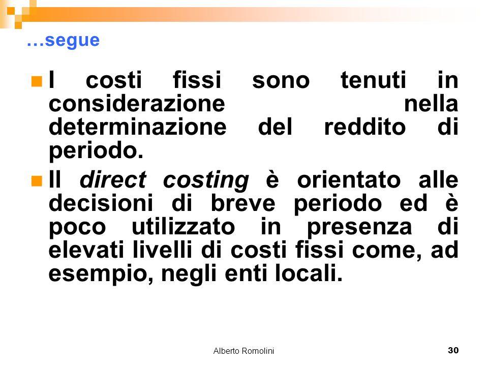 Alberto Romolini30 …segue I costi fissi sono tenuti in considerazione nella determinazione del reddito di periodo. Il direct costing è orientato alle