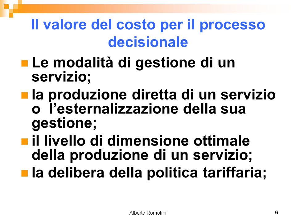 Alberto Romolini6 Il valore del costo per il processo decisionale Le modalità di gestione di un servizio; la produzione diretta di un servizio o lesternalizzazione della sua gestione; il livello di dimensione ottimale della produzione di un servizio; la delibera della politica tariffaria;