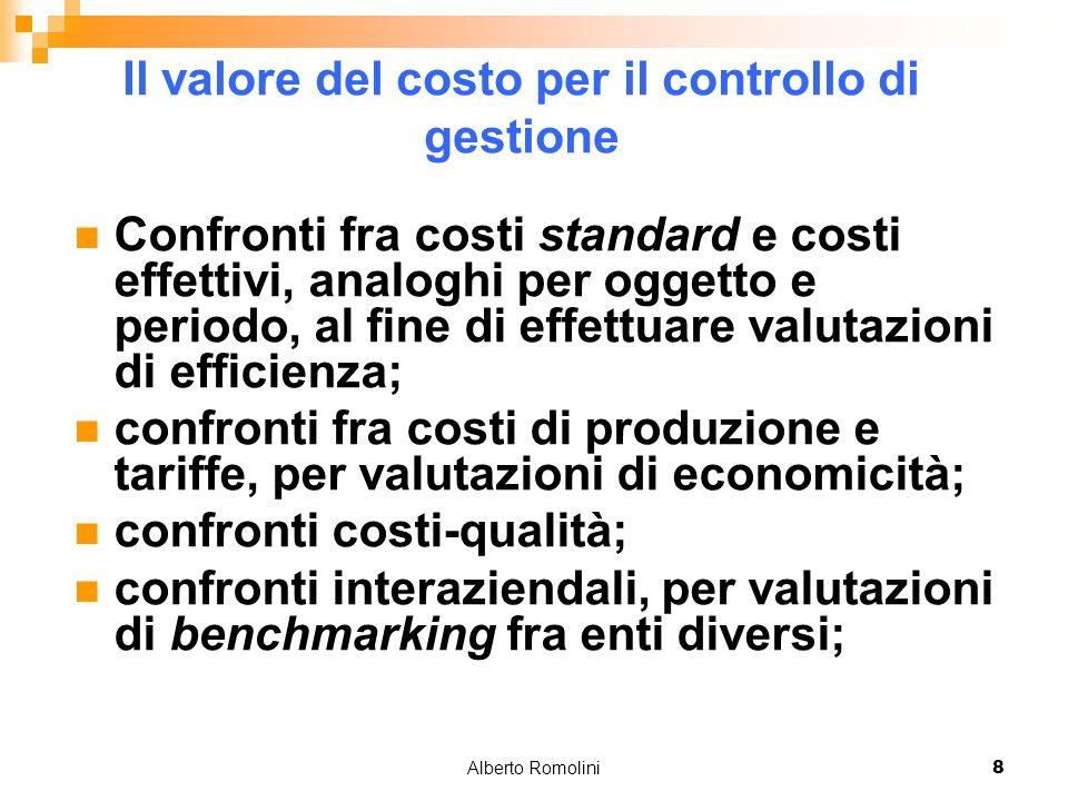 Alberto Romolini8 Il valore del costo per il controllo di gestione Confronti fra costi standard e costi effettivi, analoghi per oggetto e periodo, al fine di effettuare valutazioni di efficienza; confronti fra costi di produzione e tariffe, per valutazioni di economicità; confronti costi-qualità; confronti interaziendali, per valutazioni di benchmarking fra enti diversi;