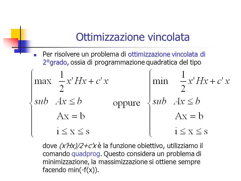 Ottimizzazione vincolata ottimizzazione vincolata di 2°grado Per risolvere un problema di ottimizzazione vincolata di 2°grado, ossia di programmazione