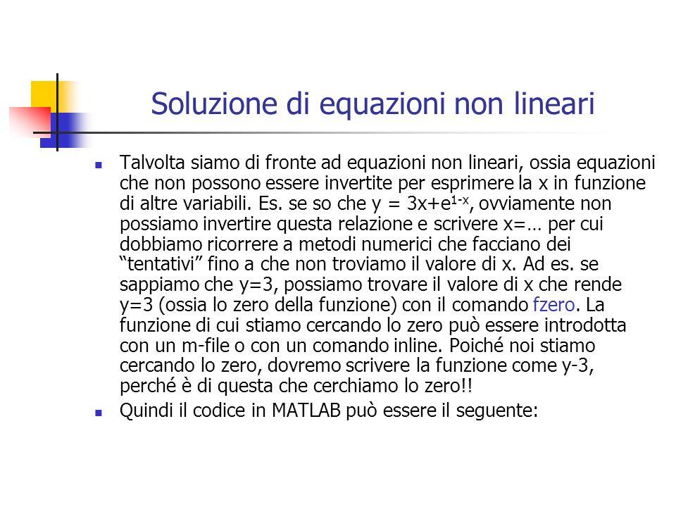 Soluzione di equazioni non lineari Talvolta siamo di fronte ad equazioni non lineari, ossia equazioni che non possono essere invertite per esprimere l