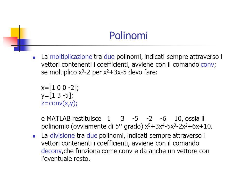 Polinomi La moltiplicazione tra due polinomi, indicati sempre attraverso i vettori contenenti i coefficienti, avviene con il comando conv; se moltipli