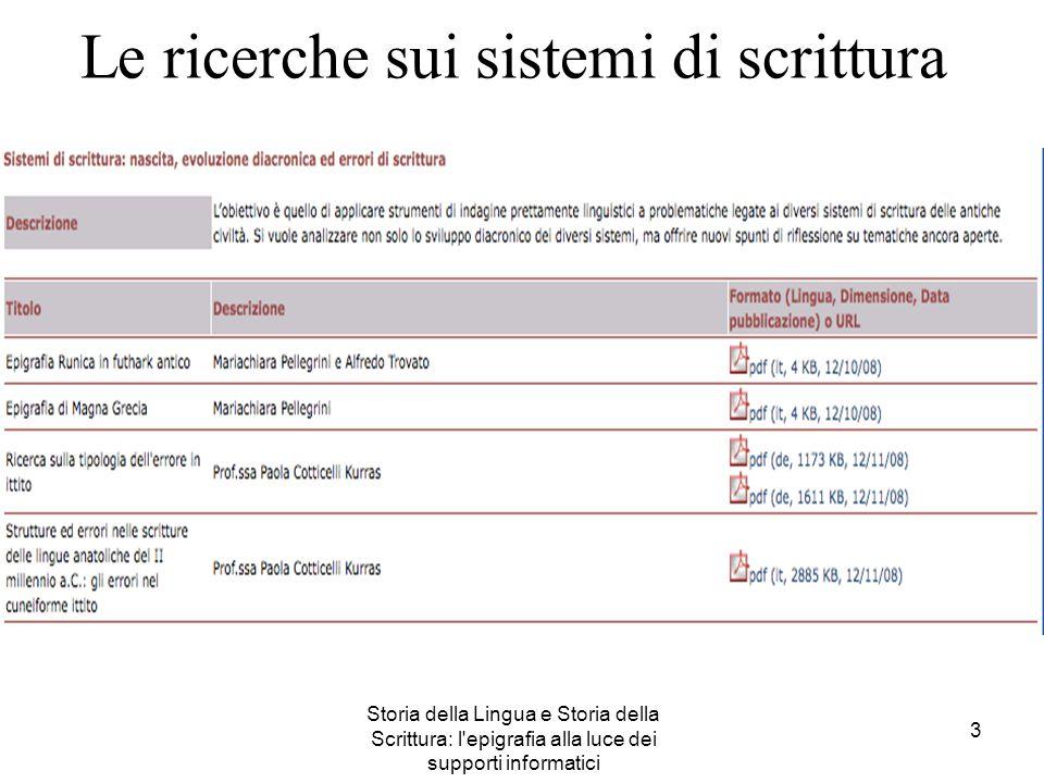 Storia della Lingua e Storia della Scrittura: l'epigrafia alla luce dei supporti informatici 3 Le ricerche sui sistemi di scrittura