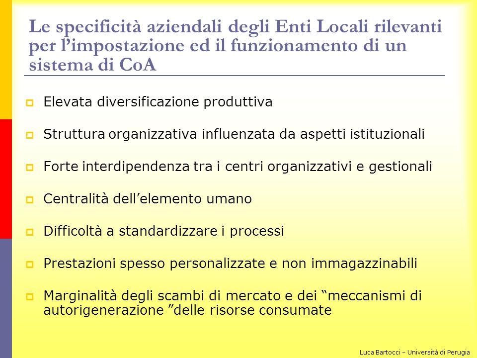 Le specificità aziendali degli Enti Locali rilevanti per limpostazione ed il funzionamento di un sistema di CoA Elevata diversificazione produttiva St