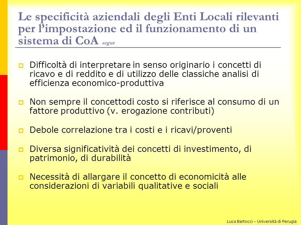 Le specificità aziendali degli Enti Locali rilevanti per limpostazione ed il funzionamento di un sistema di CoA segue Difficoltà di interpretare in se