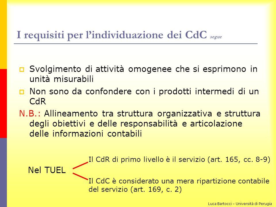 I requisiti per lindividuazione dei CdC segue Svolgimento di attività omogenee che si esprimono in unità misurabili Non sono da confondere con i prodo