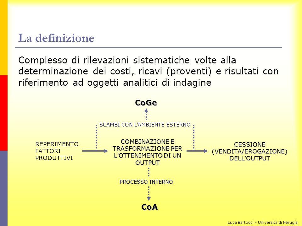 La definizione Complesso di rilevazioni sistematiche volte alla determinazione dei costi, ricavi (proventi) e risultati con riferimento ad oggetti ana