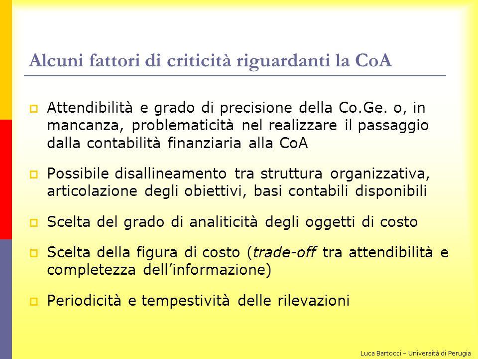 Alcuni fattori di criticità riguardanti la CoA Attendibilità e grado di precisione della Co.Ge. o, in mancanza, problematicità nel realizzare il passa