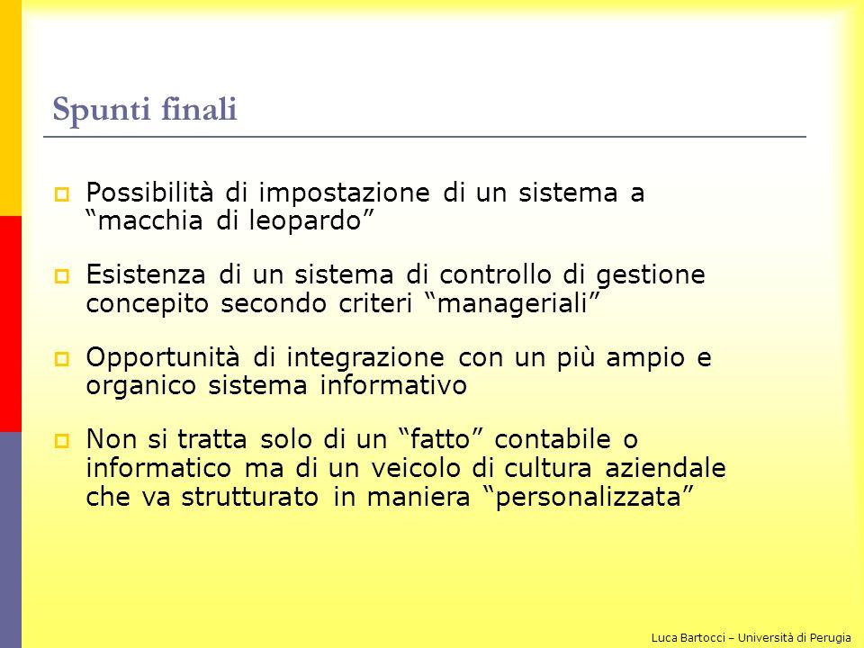 Spunti finali Possibilità di impostazione di un sistema a macchia di leopardo Esistenza di un sistema di controllo di gestione concepito secondo crite