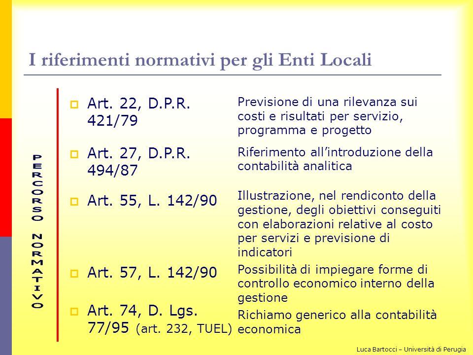 I riferimenti normativi per gli Enti Locali Art. 22, D.P.R. 421/79 Art. 27, D.P.R. 494/87 Art. 55, L. 142/90 Art. 57, L. 142/90 Art. 74, D. Lgs. 77/95