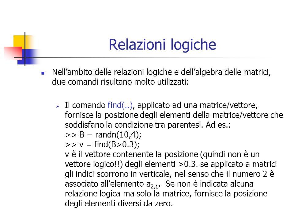 Relazioni logiche Nellambito delle relazioni logiche e dellalgebra delle matrici, due comandi risultano molto utilizzati: Il comando find(..), applicato ad una matrice/vettore, fornisce la posizione degli elementi della matrice/vettore che soddisfano la condizione tra parentesi.