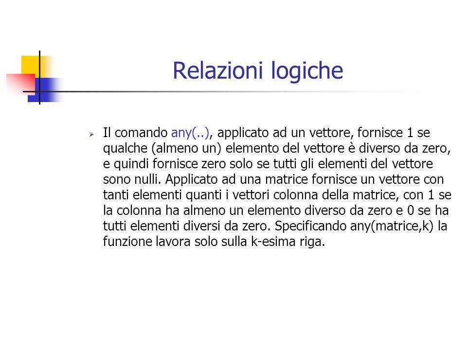 Relazioni logiche Il comando any(..), applicato ad un vettore, fornisce 1 se qualche (almeno un) elemento del vettore è diverso da zero, e quindi fornisce zero solo se tutti gli elementi del vettore sono nulli.