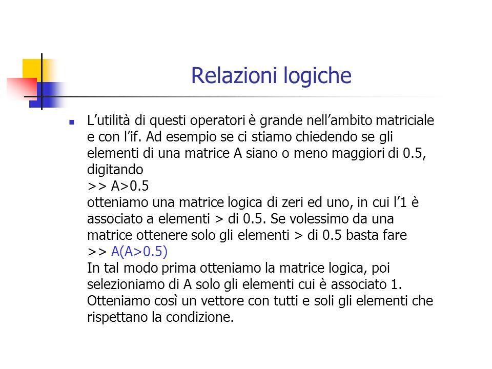 Relazioni logiche Lutilità di questi operatori è grande nellambito matriciale e con lif.