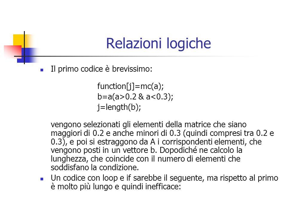 Relazioni logiche Il primo codice è brevissimo: function[j]=mc(a); b=a(a>0.2 & a<0.3); j=length(b); vengono selezionati gli elementi della matrice che siano maggiori di 0.2 e anche minori di 0.3 (quindi compresi tra 0.2 e 0.3), e poi si estraggono da A i corrispondenti elementi, che vengono posti in un vettore b.