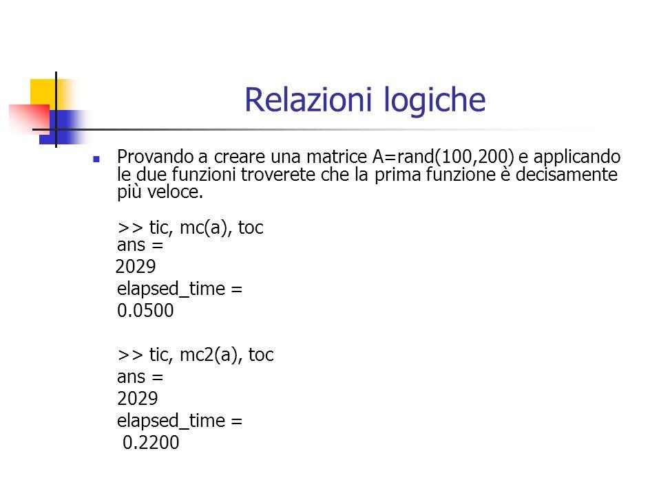 Relazioni logiche Provando a creare una matrice A=rand(100,200) e applicando le due funzioni troverete che la prima funzione è decisamente più veloce.