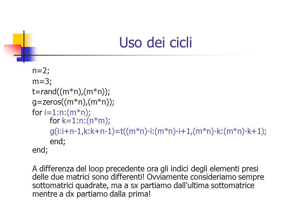 Uso dei cicli n=2; m=3; t=rand((m*n),(m*n)); g=zeros((m*n),(m*n)); for i=1:n:(m*n); for k=1:n:(n*m); g(i:i+n-1,k:k+n-1)=t((m*n)-i:(m*n)-i+1,(m*n)-k:(m*n)-k+1);end; A differenza del loop precedente ora gli indici degli elementi presi delle due matrici sono differenti.