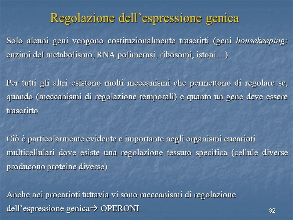 32 Solo alcuni geni vengono costituzionalmente trascritti (geni housekeeping: enzimi del metabolismo, RNA polimerasi, ribosomi, istoni…) Per tutti gli